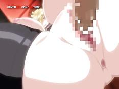 Сисястая хентай блондинка дрочит член своей грудью и сквиртует