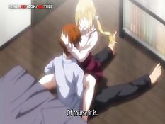 Красивая хентай блондинка с большой грудью трогает член парня