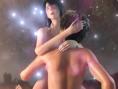 Сексуальная 3D брюнетка на улице занимается сексом с приятелем