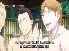 Группа парней оттрахала в бассейне сиськастую хентай красавицу