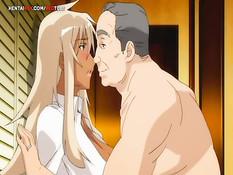 Мужчина прижал грудастую аниме блондинку и отымел на кровати