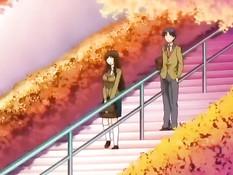 Сиськастая аниме брюнетка отсасывает член сидящему на стуле парню