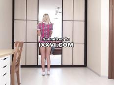 Красивая русская блондиночка встала на колени и сделала сочный минет