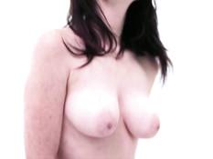 Девчонка мастурбирует свою бритую письку и дрочит член у очкарика