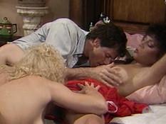 Парень отодрал на кровати двух кудрявых девиц с волосатыми письками