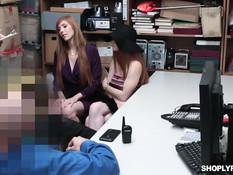 Охранники отъебали в подсобке двух пойманных за кражу сисястых девок