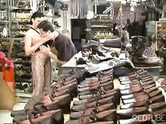 Employees having sex in shoefactory