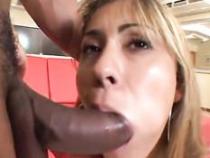 Black dick sticks in both holes