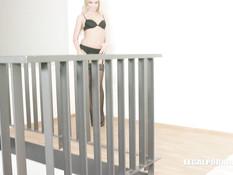 Блондинка в чёрных чулках занимается анальным сексом с тремя неграми