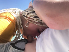 Горячая русская блондинка с косичками сосёт хуй на катамаране в море