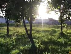 Светловолосая русская тёлка в кустах выдрочила сперму себе на лицо