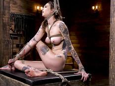 Высокую татуированную сучку оттрахали вибратором и наказали плетью