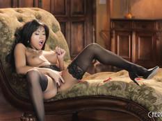 Азиатская девка в чёрных чулках стонет во время мастурбации клитора
