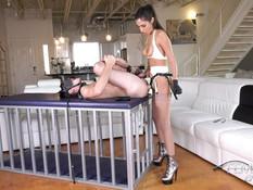 Стройная молодая госпожа с большой грудью ебёт секс раба страпоном