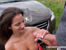 Привёз в поле грудастую чешскую тёлку и оттрахал в своём автомобиле
