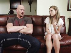 Похотливый мужик связал двух молодых сестричек и оттрахал на диване