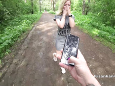 Парень привёл в лес сисястую русскую блондиночку и отымел её в киску