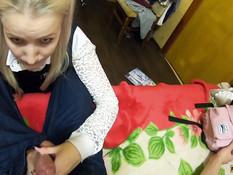 Нерадивая русская студентка была отшлёпана и оттрахана в бритую писю