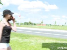 Две молодые пары свингеров трахаются в кустах возле оживлённого шоссе