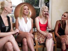Две жестокие лесбиянки выпороли и отпердолили трёх напуганных женщин