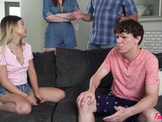 Рыжая сисястая тётка и молодая азиатка ебутся с мужчиной и пареньком