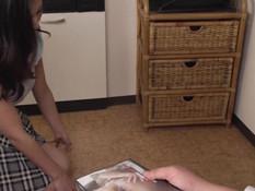 Ненасытный парень отымел грудастую японскую шатенку и кончил в киску