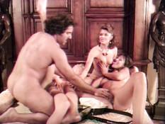 Волосатый мужик оттрахал на кровати в волосатые письки трёх любовниц