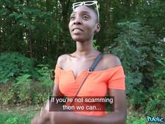 Лысая сисястая негритянка занимается сексом с пикапером в лесной чаще