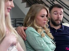 Мужчина и парень отодрали грудастую зрелую блондинку и худую девушку