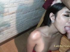 Секс турист оттрахал грудастого тайского транса и обкончал его лицо