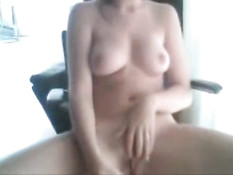 Girl using banana on webcam video