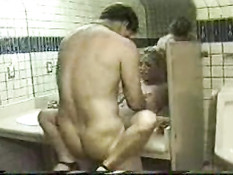 Teen gets fucked in the toilet