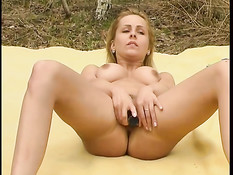 Blond bitch used outdoors  4
