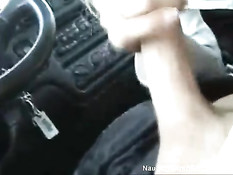 Horny babe blows in car
